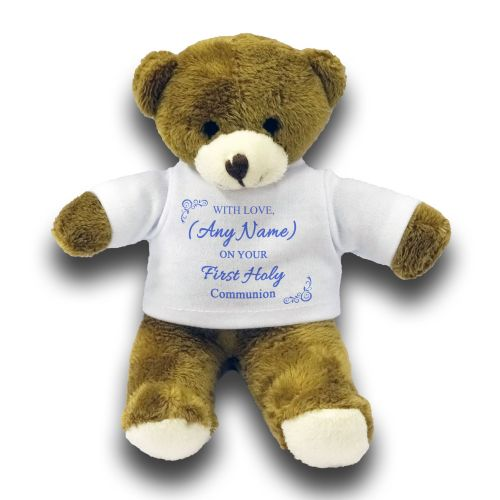"Personalised Any Name - with Love On Your First Holy Communion Cute Bear Gift 7"" Teddy Bear - Blue …"